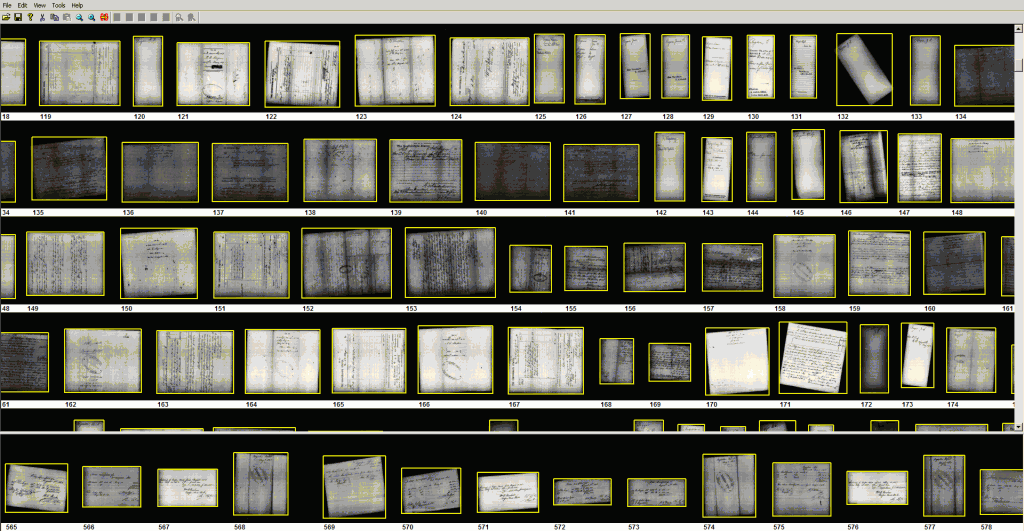 Viewing a 16mm NARA Ribbon After Microfilm Scanning -- Yellow Boxes Indicate Individual Images to be Output